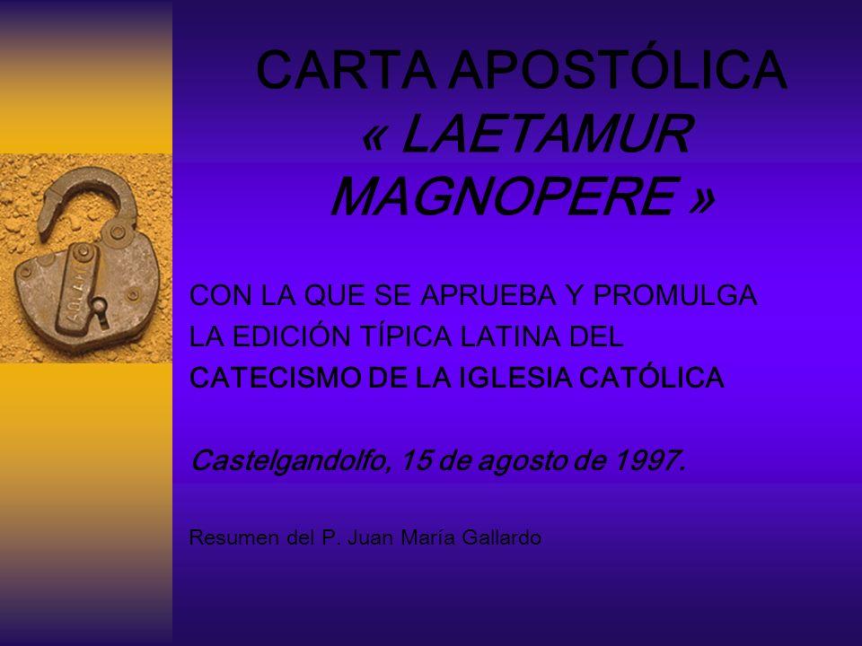 CARTA APOSTÓLICA « LAETAMUR MAGNOPERE »