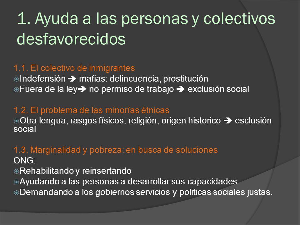 1. Ayuda a las personas y colectivos desfavorecidos