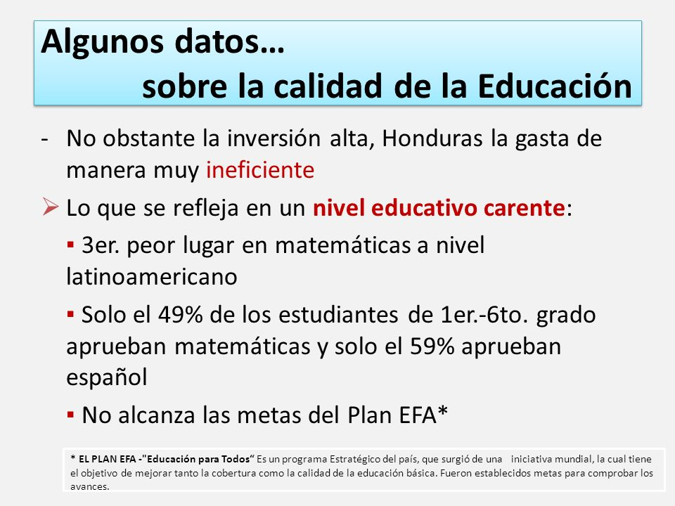 Algunos datos… sobre la calidad de la Educación