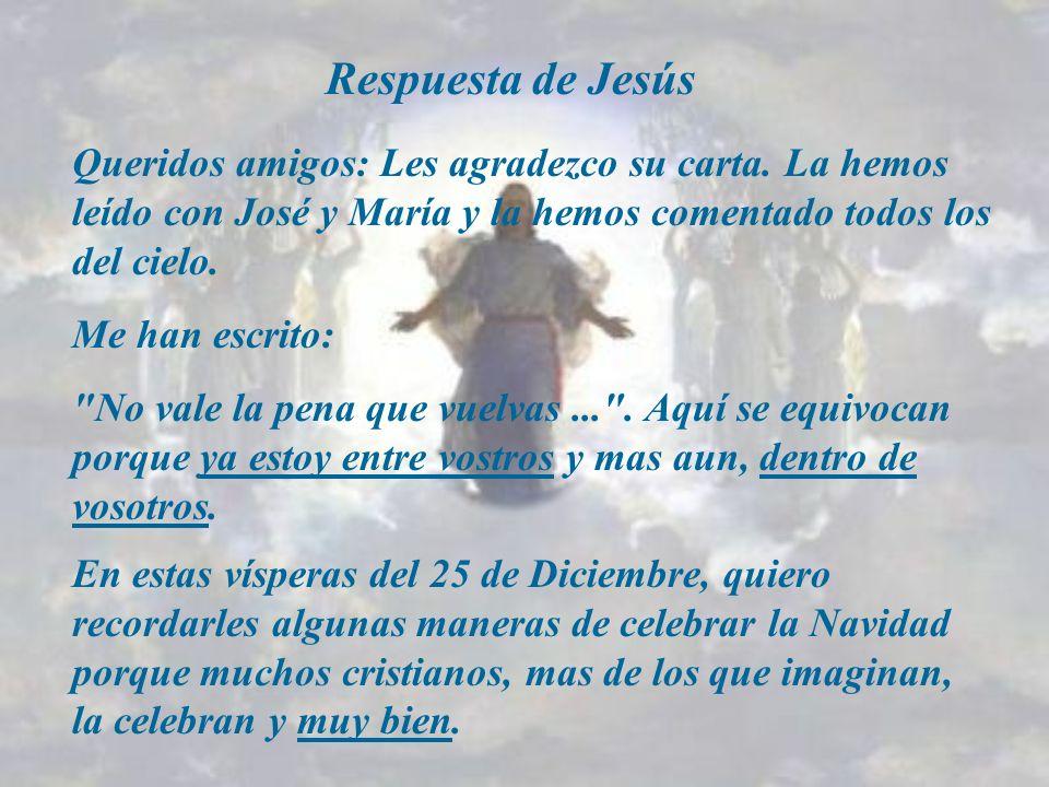 Respuesta de Jesús Queridos amigos: Les agradezco su carta. La hemos leído con José y María y la hemos comentado todos los del cielo.