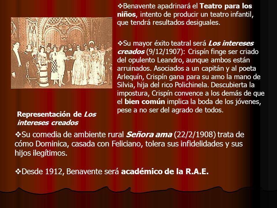 Desde 1912, Benavente será académico de la R.A.E.