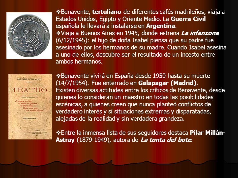 Benavente, tertuliano de diferentes cafés madrileños, viaja a Estados Unidos, Egipto y Oriente Medio. La Guerra Civil española le llevará a instalarse en Argentina.
