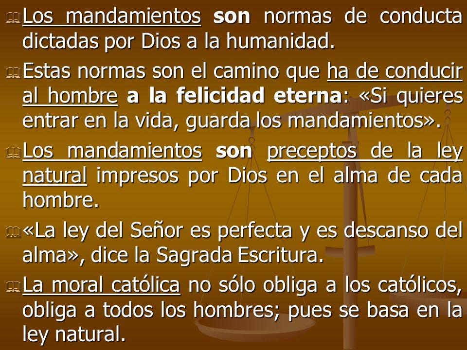 Los mandamientos son normas de conducta dictadas por Dios a la humanidad.