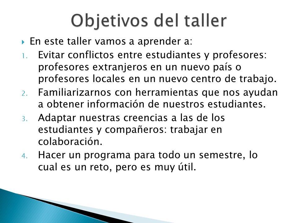 Objetivos del taller En este taller vamos a aprender a:
