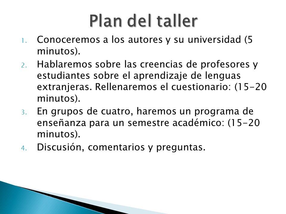 Plan del taller Conoceremos a los autores y su universidad (5 minutos).