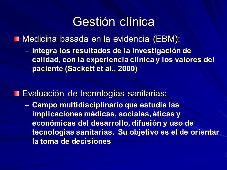 Gestión clínica Medicina basada en la evidencia (EBM):
