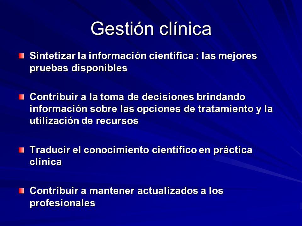 Gestión clínica Sintetizar la información científica : las mejores pruebas disponibles.