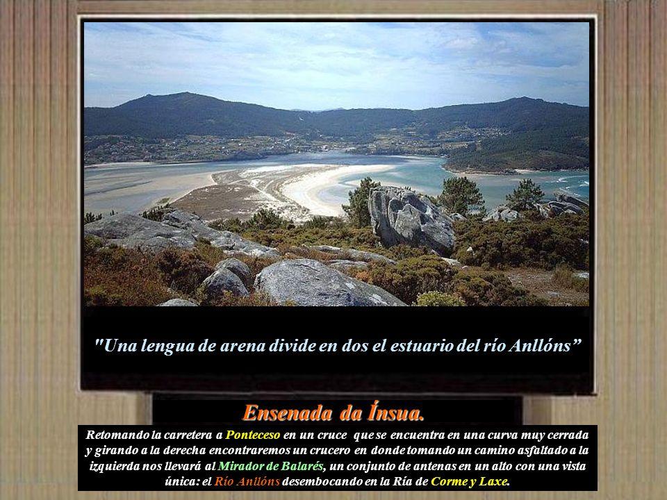 Una lengua de arena divide en dos el estuario del río Anllóns