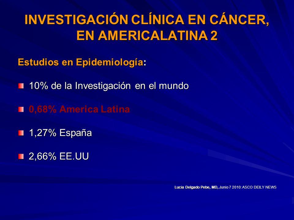INVESTIGACIÓN CLÍNICA EN CÁNCER, EN AMERICALATINA 2
