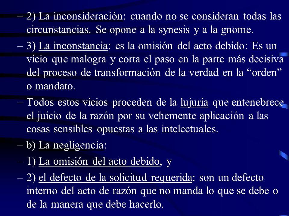 2) La inconsideración: cuando no se consideran todas las circunstancias. Se opone a la synesis y a la gnome.