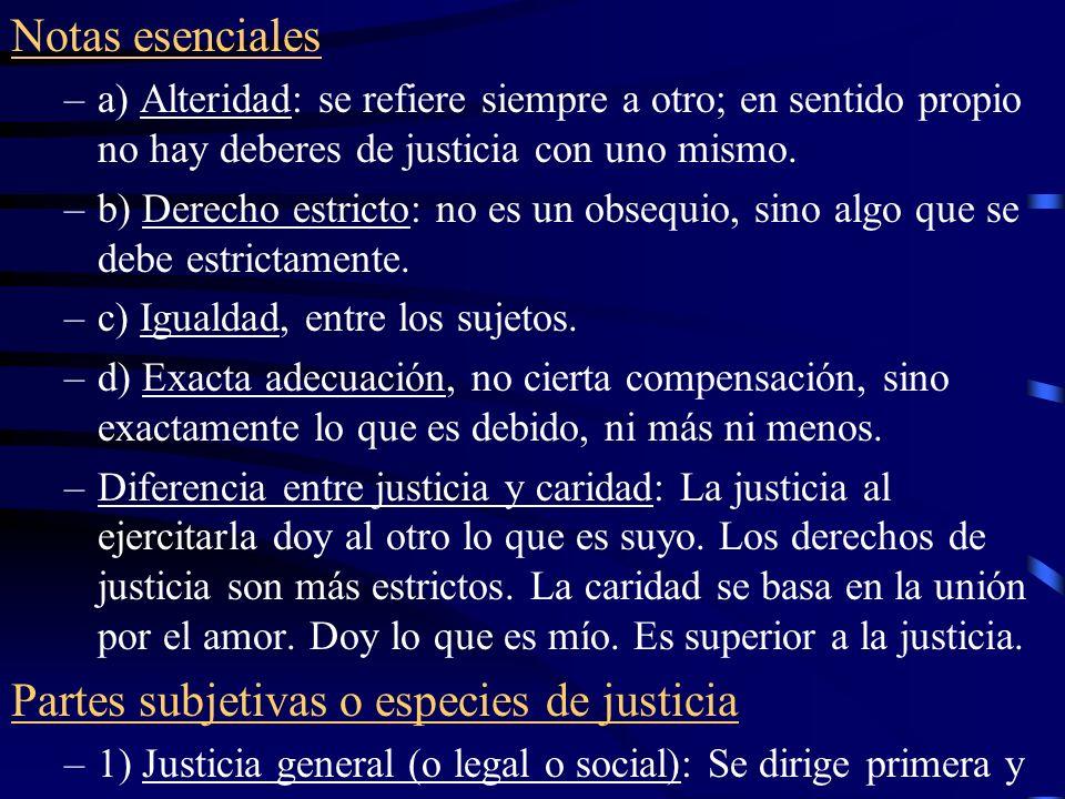 Partes subjetivas o especies de justicia