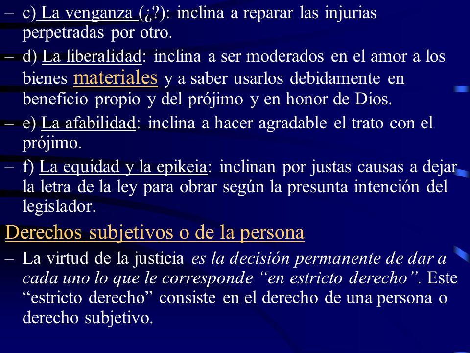 Derechos subjetivos o de la persona