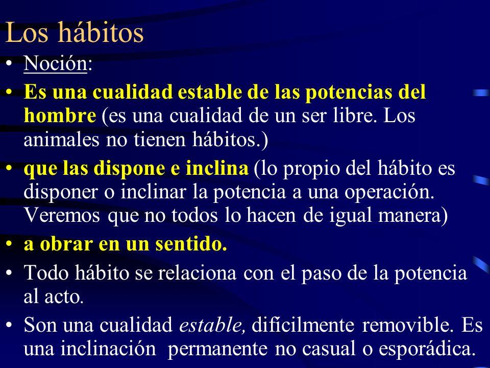 Los hábitos Noción: Es una cualidad estable de las potencias del hombre (es una cualidad de un ser libre. Los animales no tienen hábitos.)