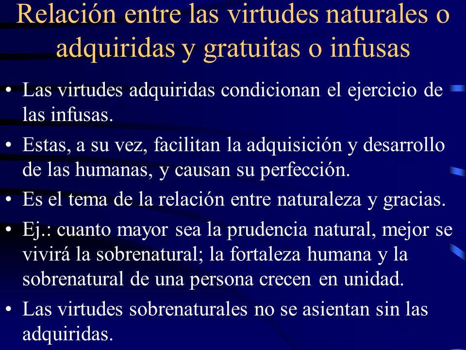 Relación entre las virtudes naturales o adquiridas y gratuitas o infusas