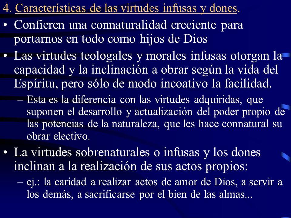 4. Características de las virtudes infusas y dones.