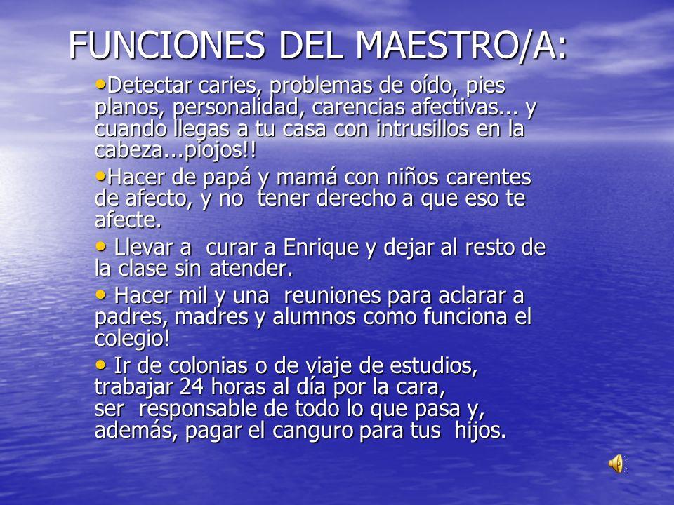 FUNCIONES DEL MAESTRO/A:
