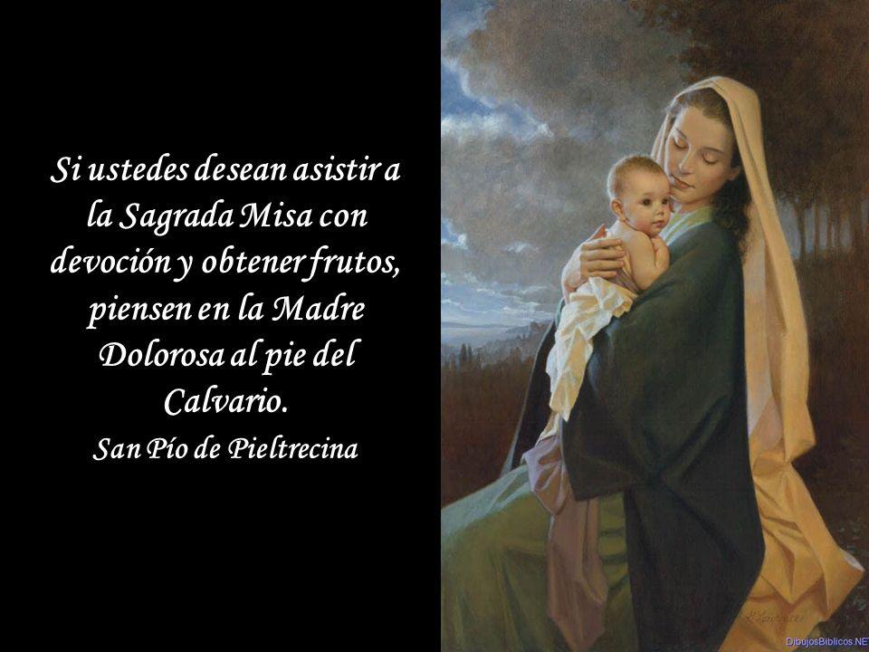 Si ustedes desean asistir a la Sagrada Misa con devoción y obtener frutos, piensen en la Madre Dolorosa al pie del Calvario.