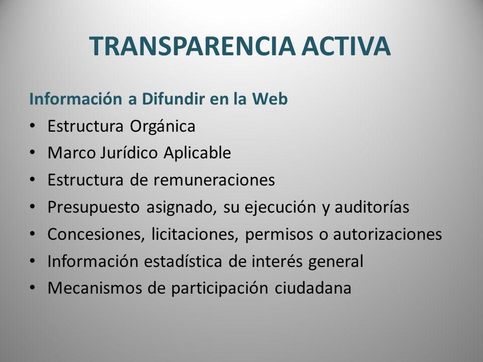 TRANSPARENCIA ACTIVA Información a Difundir en la Web