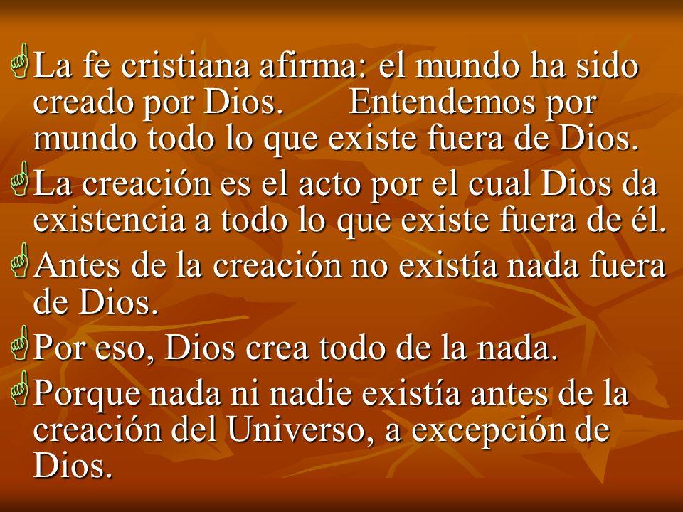 La fe cristiana afirma: el mundo ha sido creado por Dios