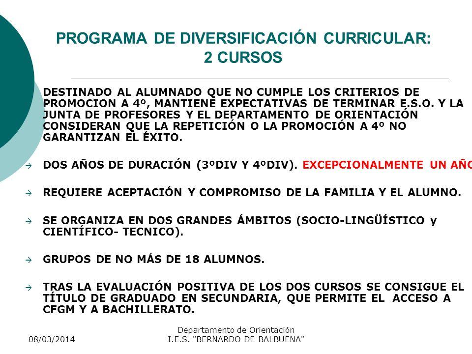 PROGRAMA DE DIVERSIFICACIÓN CURRICULAR: 2 CURSOS