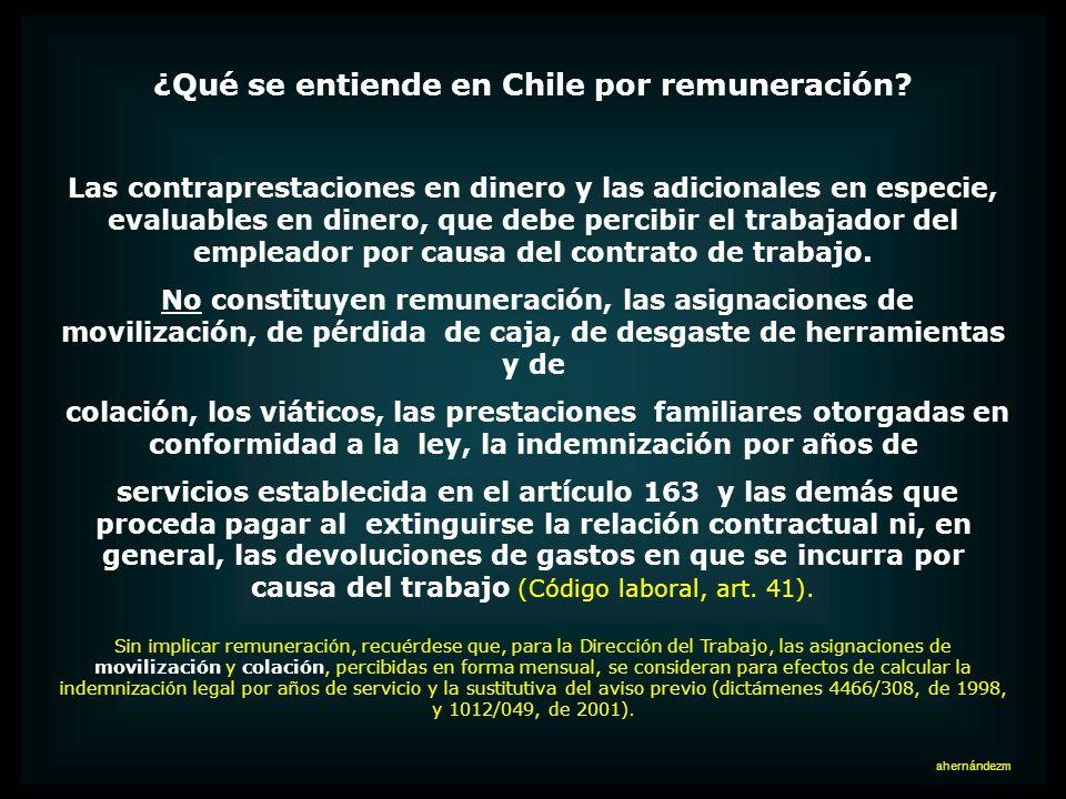 ¿Qué se entiende en Chile por remuneración