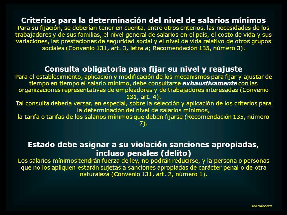 Criterios para la determinación del nivel de salarios mínimos
