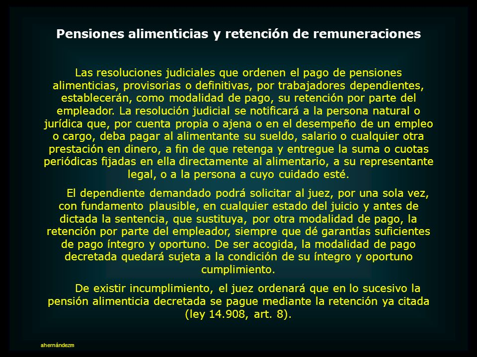 Pensiones alimenticias y retención de remuneraciones