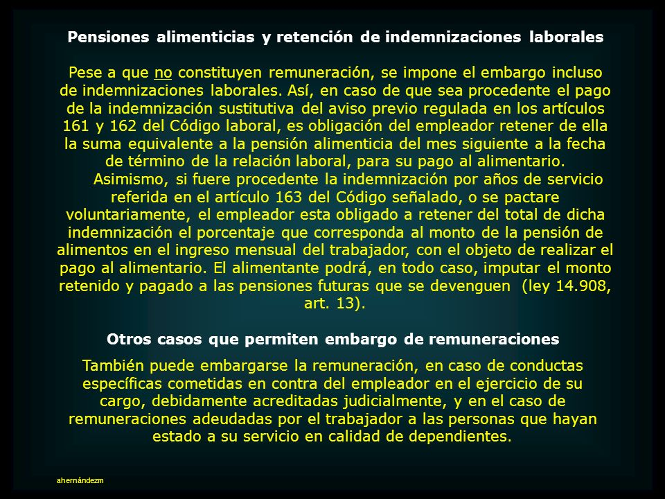 Pensiones alimenticias y retención de indemnizaciones laborales