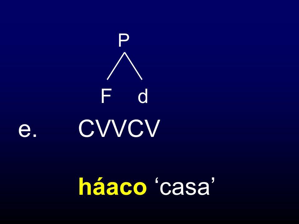 P F d e. CVVCV háaco 'casa'