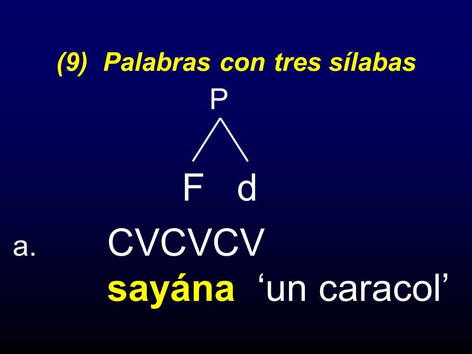 (9) Palabras con tres sílabas