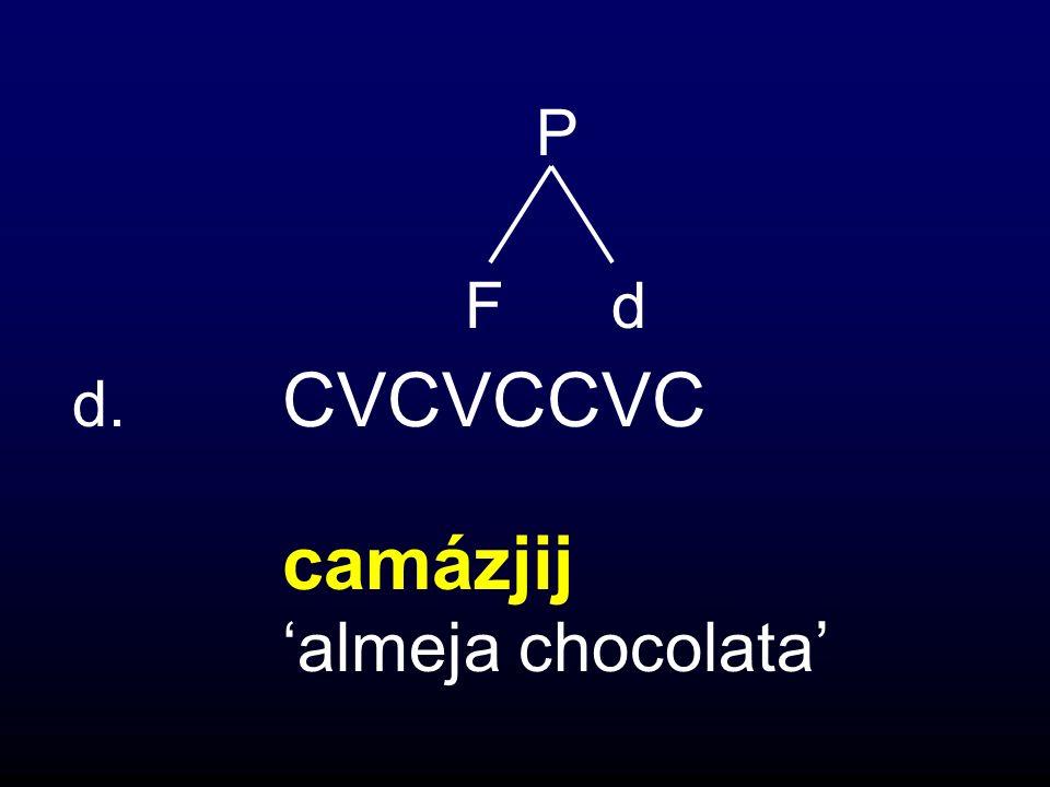 P F d d. CVCVCCVC camázjij 'almeja chocolata'
