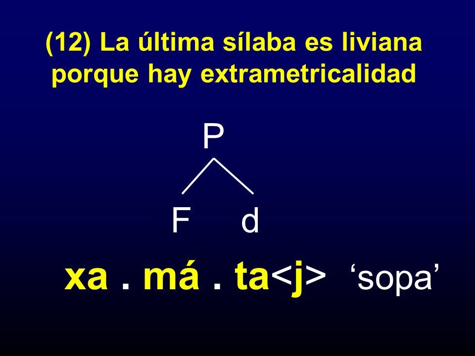 (12) La última sílaba es liviana porque hay extrametricalidad