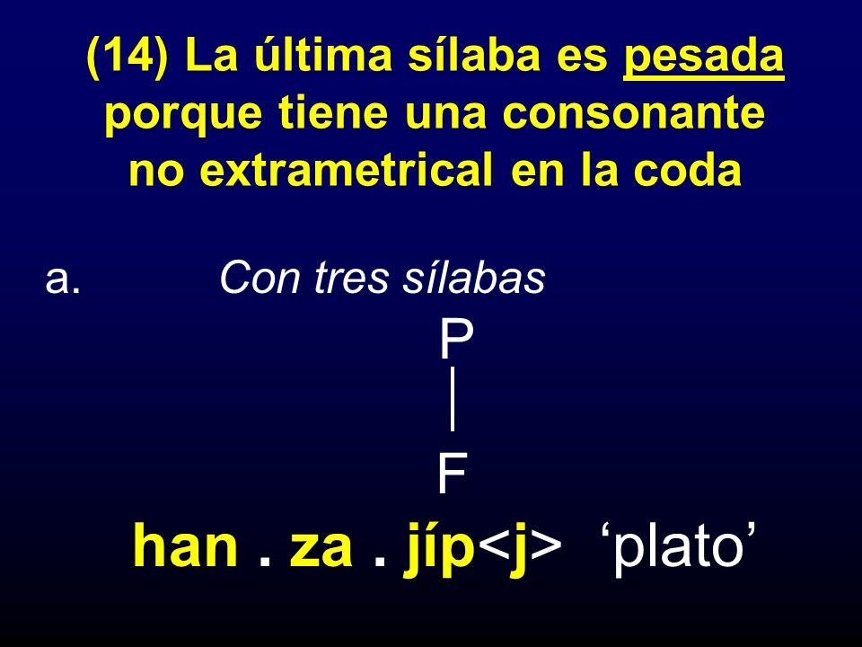 (14) La última sílaba es pesada porque tiene una consonante no extrametrical en la coda
