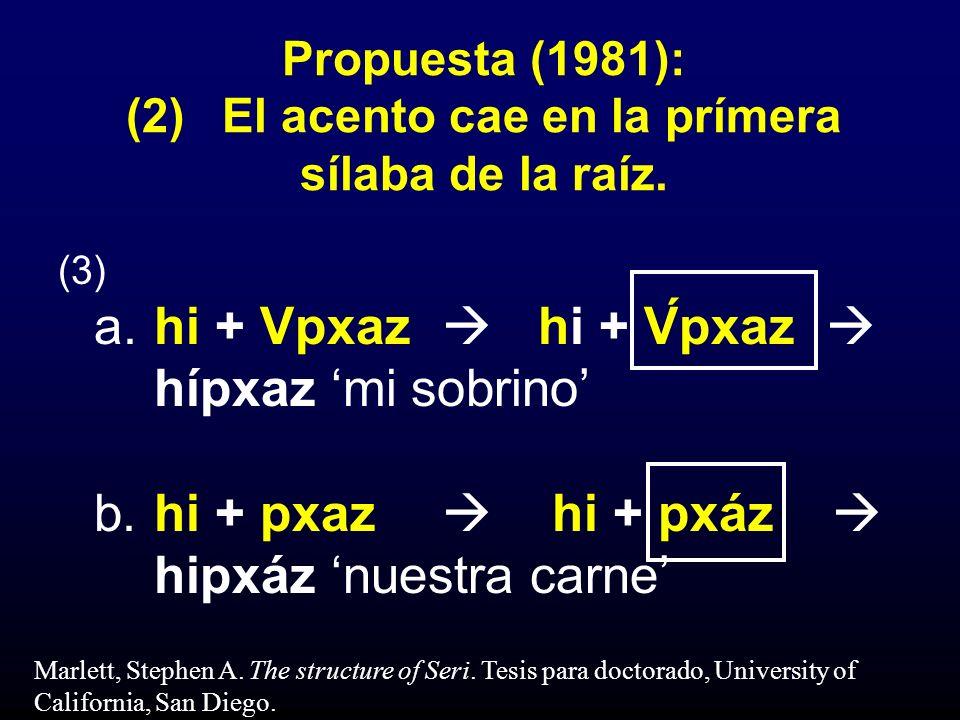 Propuesta (1981): (2) El acento cae en la prímera sílaba de la raíz.
