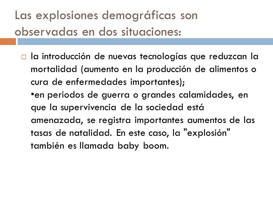 Las explosiones demográficas son observadas en dos situaciones: