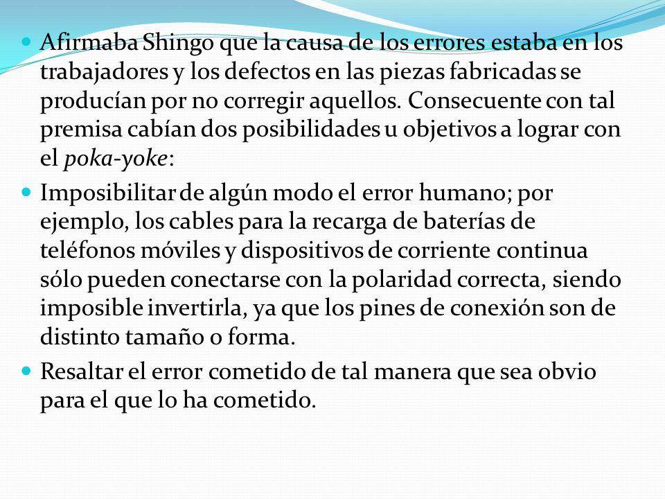 Afirmaba Shingo que la causa de los errores estaba en los trabajadores y los defectos en las piezas fabricadas se producían por no corregir aquellos. Consecuente con tal premisa cabían dos posibilidades u objetivos a lograr con el poka-yoke: