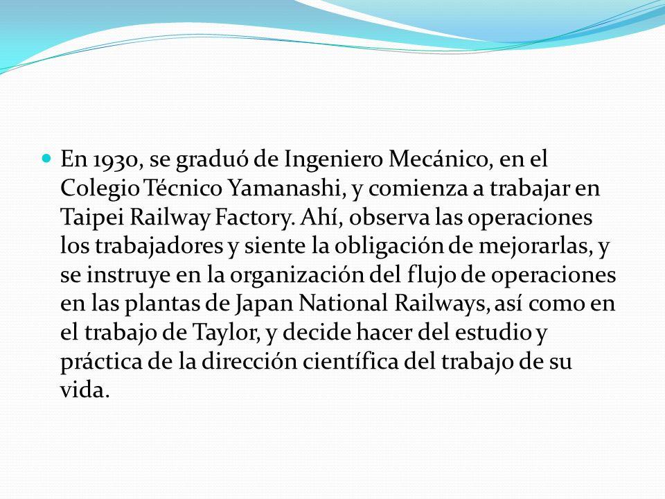 En 1930, se graduó de Ingeniero Mecánico, en el Colegio Técnico Yamanashi, y comienza a trabajar en Taipei Railway Factory.