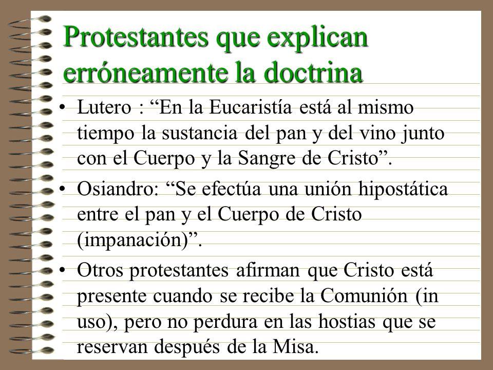 Protestantes que explican erróneamente la doctrina