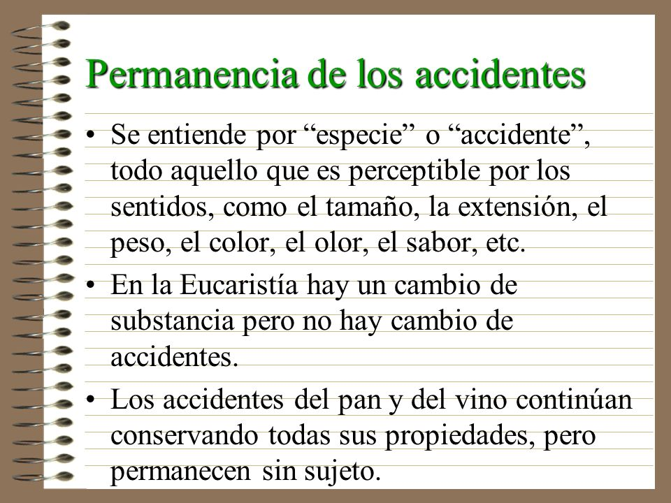 Permanencia de los accidentes