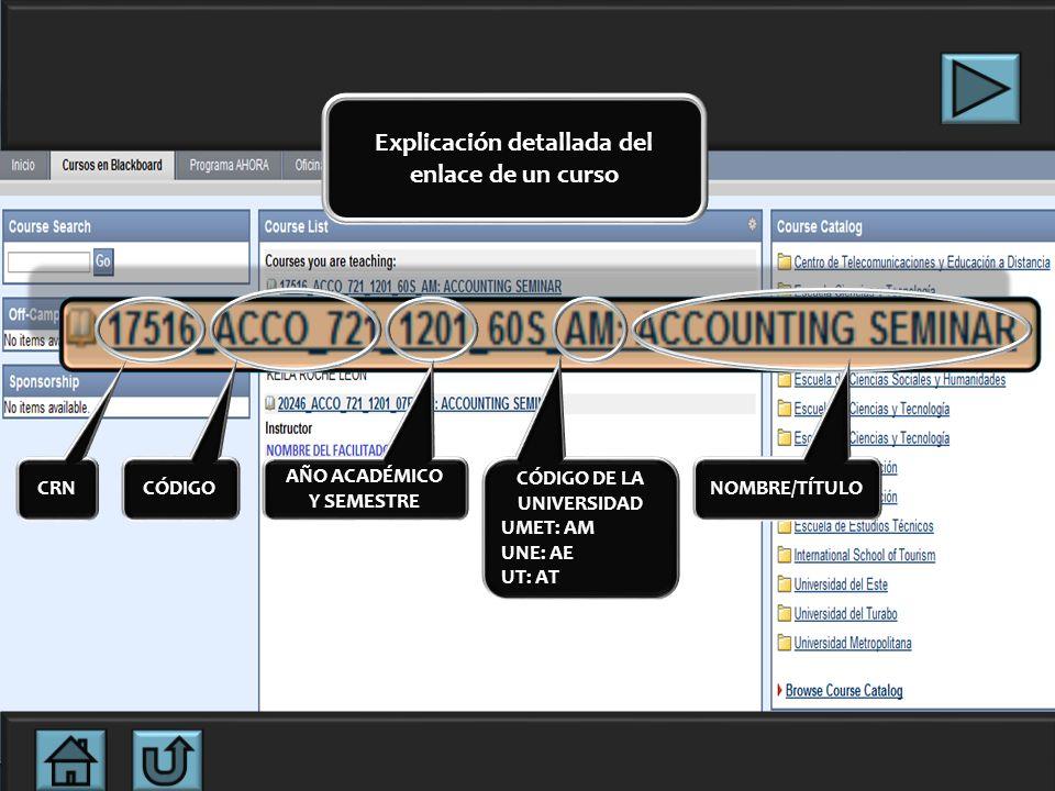 Explicación detallada del enlace de un curso CÓDIGO DE LA UNIVERSIDAD