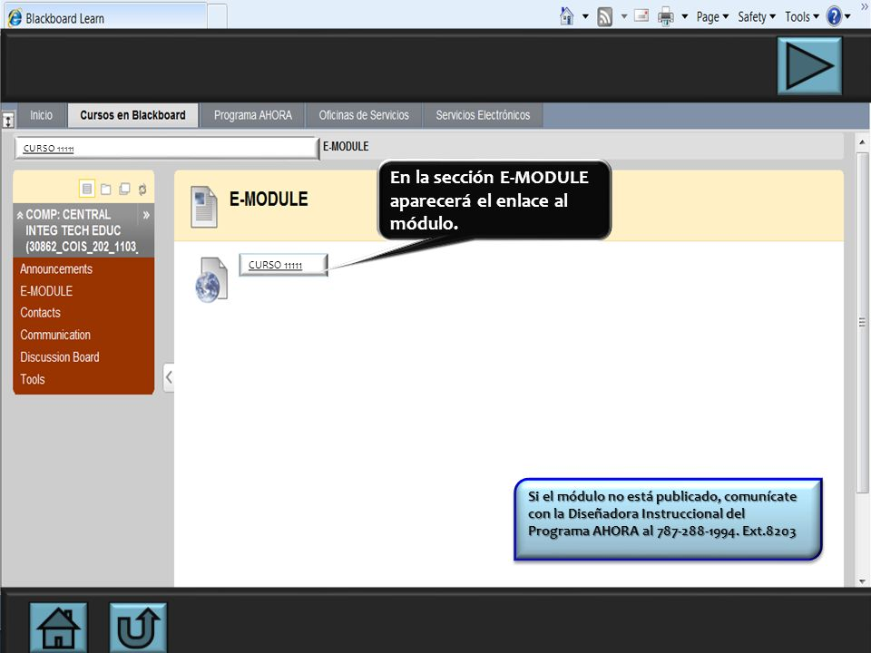 En la sección E-MODULE aparecerá el enlace al módulo.