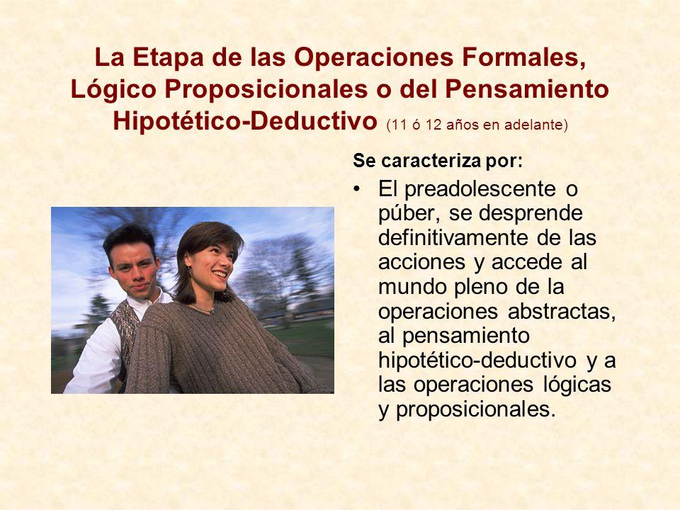 La Etapa de las Operaciones Formales, Lógico Proposicionales o del Pensamiento Hipotético-Deductivo (11 ó 12 años en adelante)