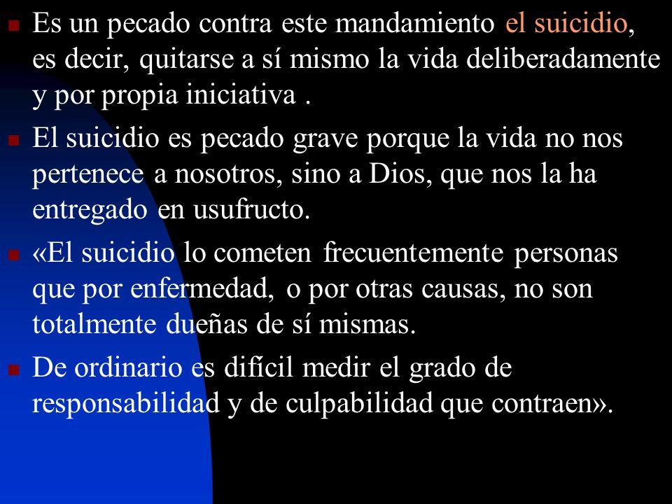 Es un pecado contra este mandamiento el suicidio, es decir, quitarse a sí mismo la vida deliberadamente y por propia iniciativa .