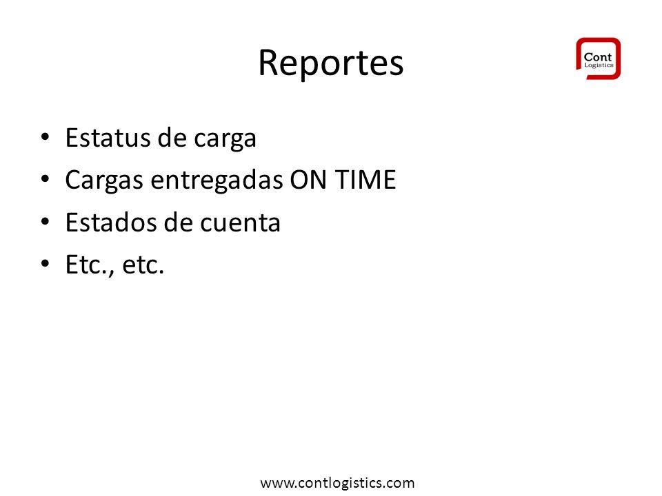 Reportes Estatus de carga Cargas entregadas ON TIME Estados de cuenta