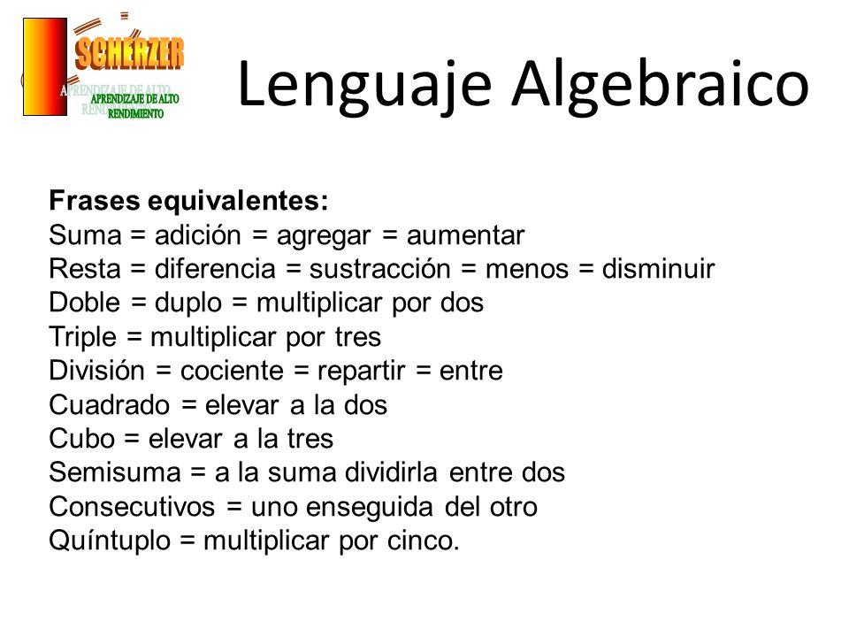 Lenguaje Algebraico SCHERZER APRENDIZAJE DE ALTO RENDIMIENTO