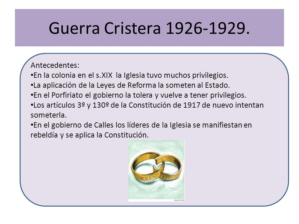 Guerra Cristera 1926-1929. Antecedentes: