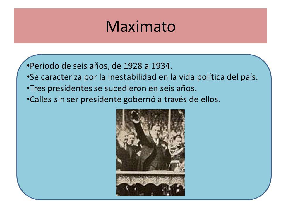 Maximato Periodo de seis años, de 1928 a 1934.