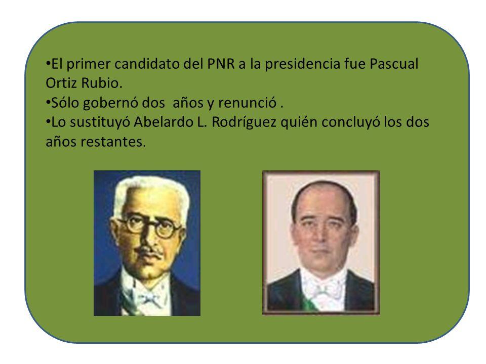 El primer candidato del PNR a la presidencia fue Pascual Ortiz Rubio.
