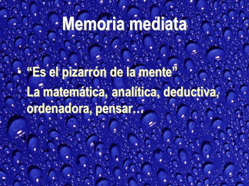 Memoria mediata Es el pizarrón de la mente