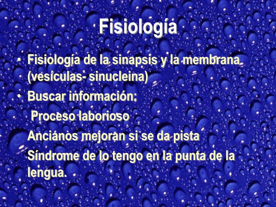 Fisiología Fisiología de la sinapsis y la membrana (vesículas- sinucleina) Buscar información: Proceso laborioso.